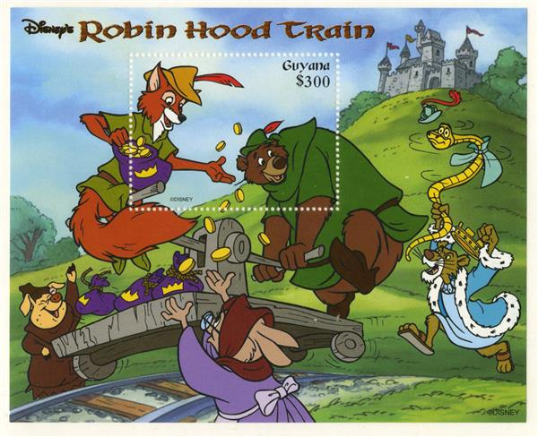 1998 Disneys Robin Hood Train, Mint Souvenir Sheet, Guyana