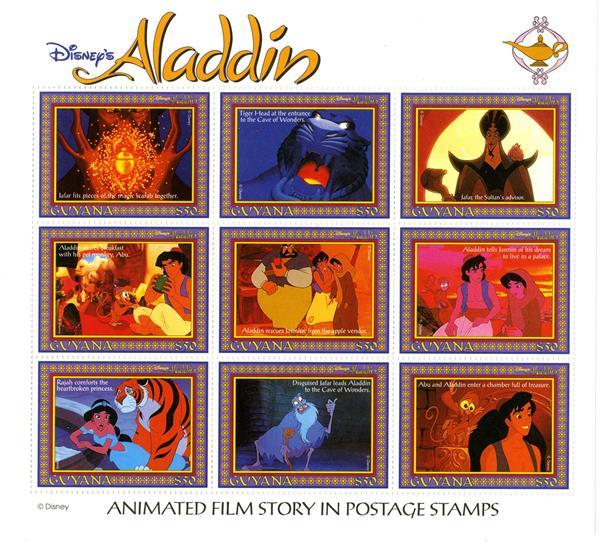1993 Disneys Film Characters - Aladdin, Mint, Sheet of 9 Stamps, Guyana