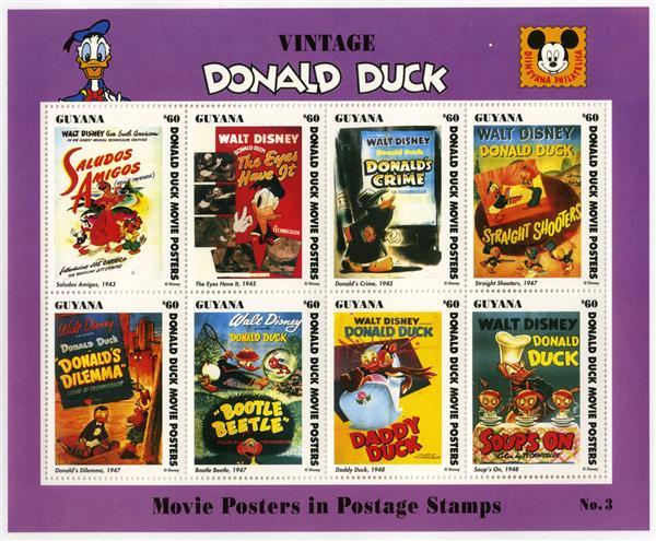 Guyana 1993 Vintage Donald #3, 8 Stamps