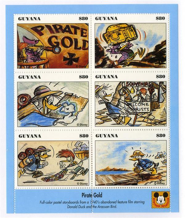 Guyana 1993 Pirates Gold, 6/sheetlet
