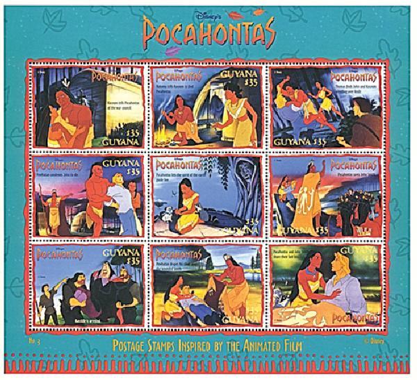 Guyana 1995 Kocoum & Pocahontas 9 Stamps