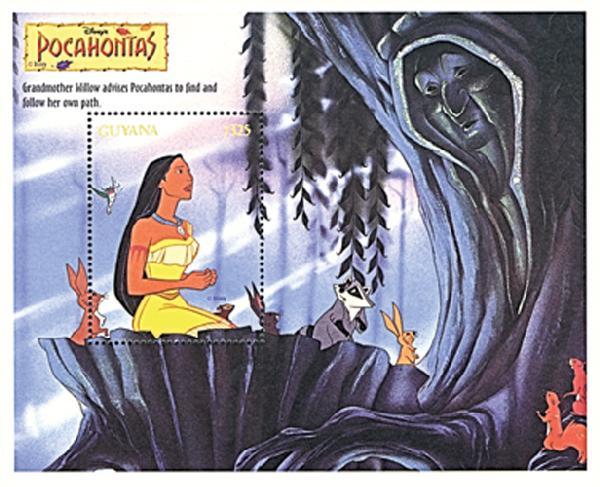 Guyana 1995 Pocahontas kneeling, S/S