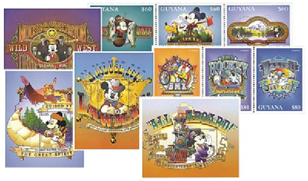 1996 Disney Classic Cartoons, Mint,  Set of 3 Strips and 3 Souvenir Sheets, Guyana