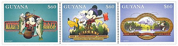 Guyana 1996 Mickey Outdoors, strip of 3
