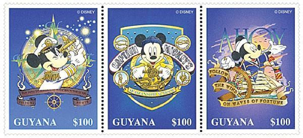 Guyana 1996 Nautical Mickey, strip of 3