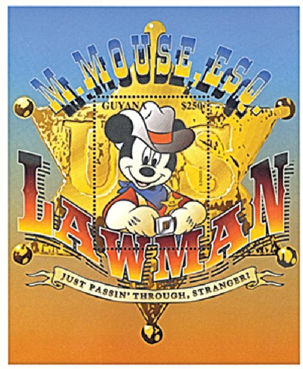 1996 Disney Classic Cartoons - Mickey Mouse,Esquire, Mint Souvenir Sheet, Guyana