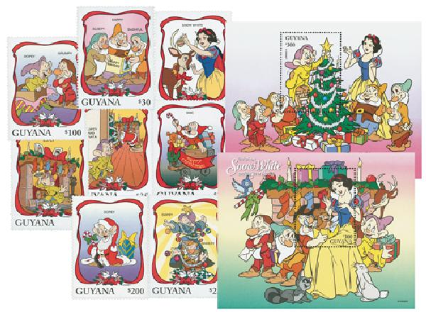 1996 Disney Celebrates Christmas with Snow White and the 7 Dwarfs, Mint, Set of 8 Stamps and 2 Souvenir Sheets, Guyana