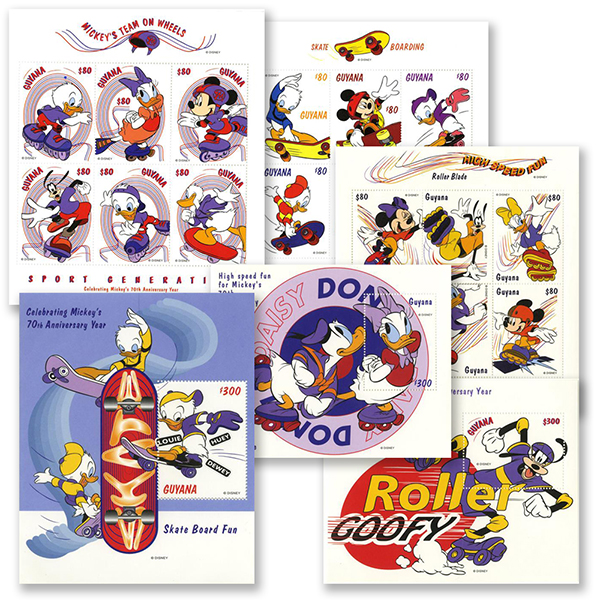 1998 Disney and Friends Celebrate Mickeys 70th Anniversary, Mint, Set of 3 Sheets and 3 Souvenir Sheets, Guyana