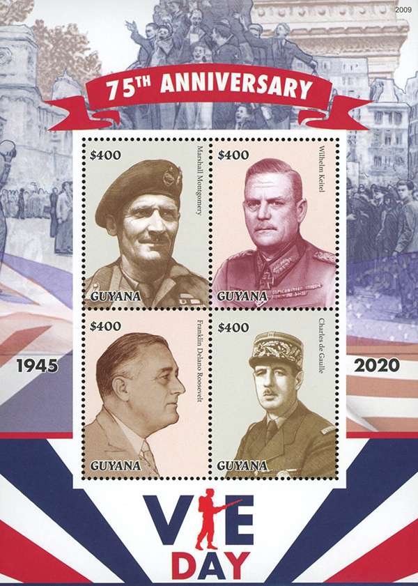 2020 $400 75th Anniversary of VE-Day, Mint Sheet, Guyana