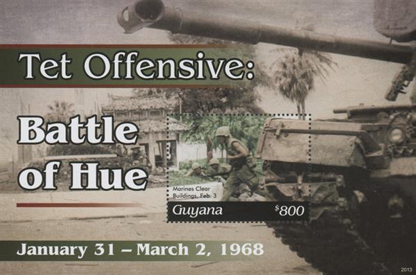 """2020 $800 Vietnam War - TET Offensive -""""Battle of Hue"""", Mint Sheet, Guyana"""