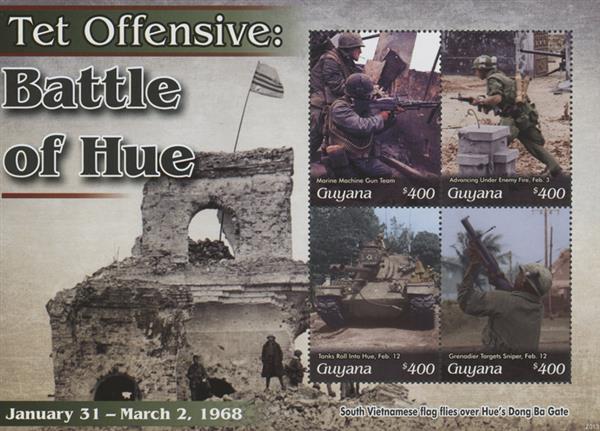 """2020 $400 Vietnam War - TET Offensive -""""Battle of Hue"""", Mint Sheet, Guyana"""