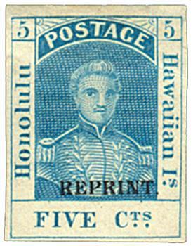 1889 5c blue, reprint, specimen