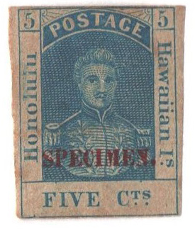 1868 5c Kamehameha III, blue, o.p. in re