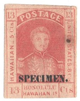 1868 13c Hawaii, dull rose