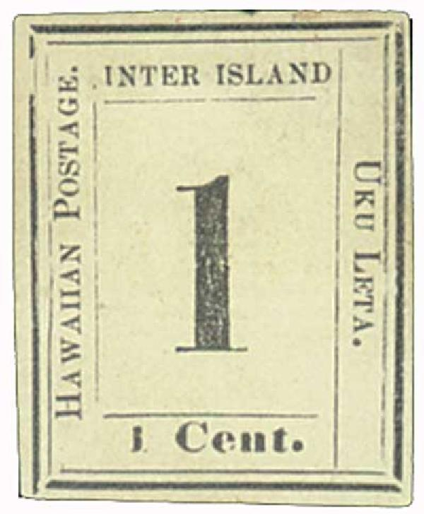 1864 1c Hawaii, black, laid paper
