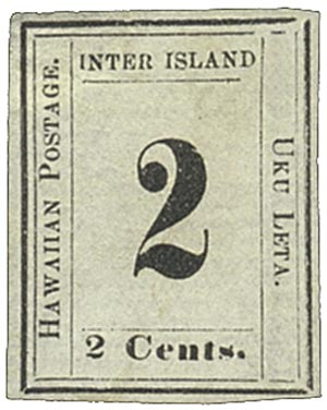 1864 2c Hawaii, black, laid paper