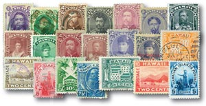 1864-99 Hawaii Giant Collection - 21 stamps plus album