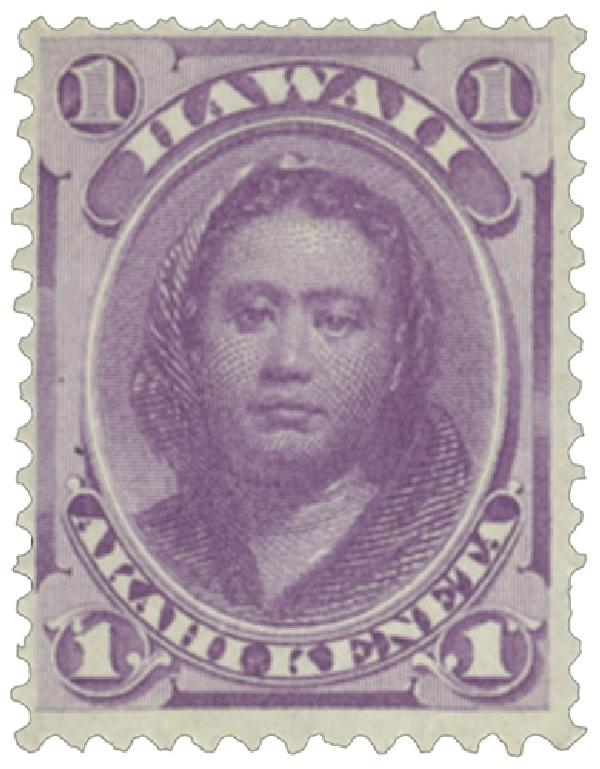 1886 1c Hawaii, purple, perf 12, wove paper