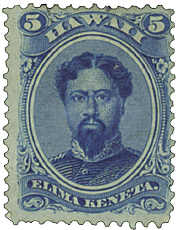 1866 5c Hawaii, blue, perf 12, wove paper