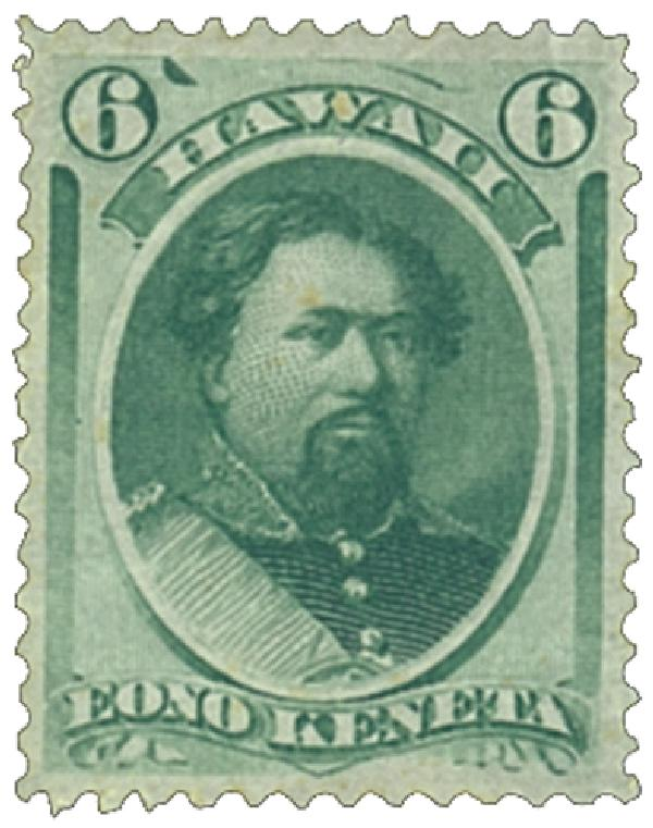 1871 6c Hawaii, yellow green, perf 12, wove paper