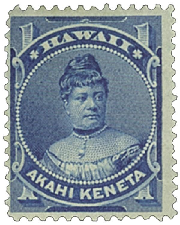 1882 1c Hawaii, blue,  perf 12, wove paper