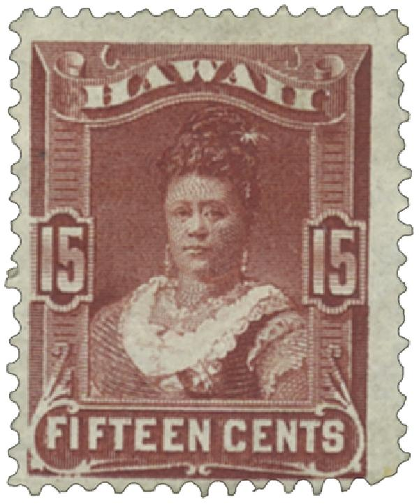 1882 15c Hawaii, red brown, perf 12, wove paper
