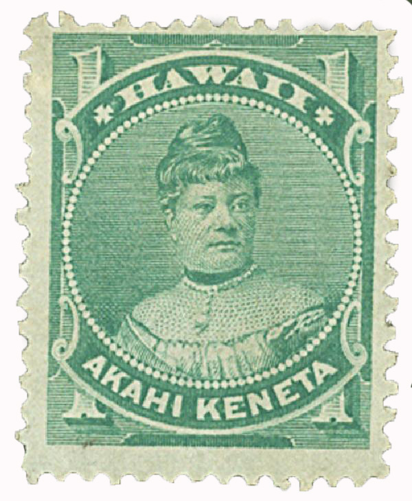 1883-86 1c Hawaii, green, perf 12, wove paper