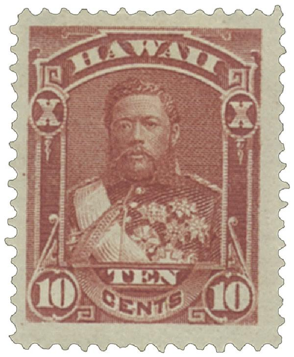 1883-86 10c Hawaii, red brown,perf 12,wove paper