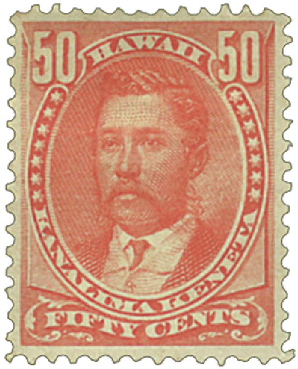 1883-86 50c Hawaii, red, perf 12, wove paper
