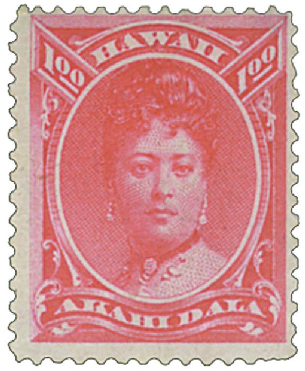 1883-86 $1 Hawaii, rose red, perf 12, wove paper