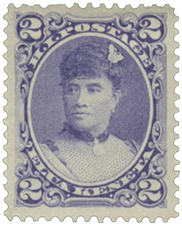 1890-91 2c Hawaii, dull violet, perf 12