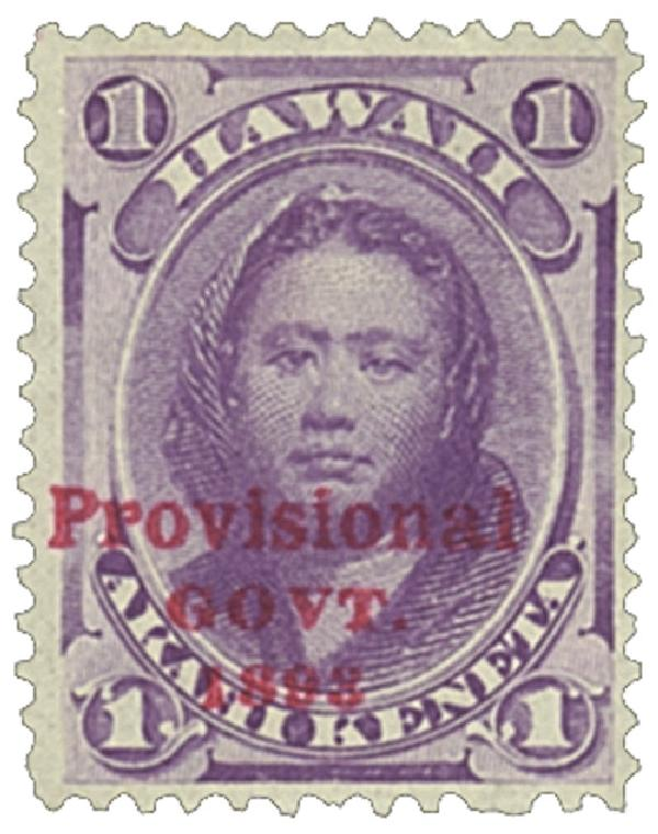 1893 1c Hawaii, purple, red overprint