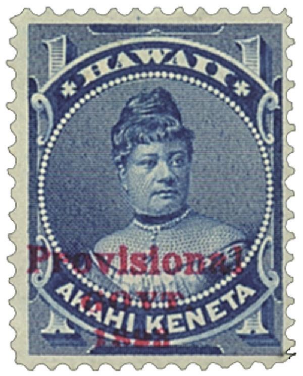1893 1c Hawaii, blue, red overprint