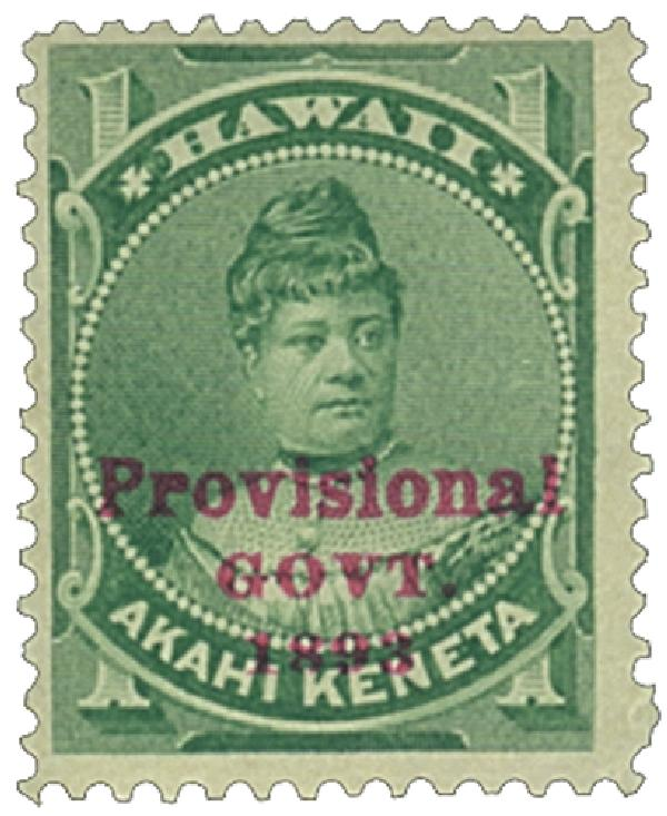 1893 1c Hawaii, green, red overprint