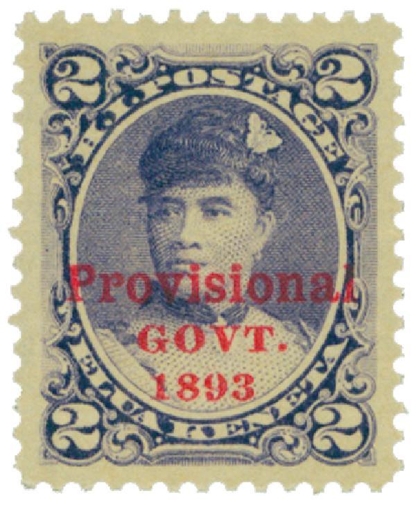 1893 2c Hawaii, dull violet, red overprint