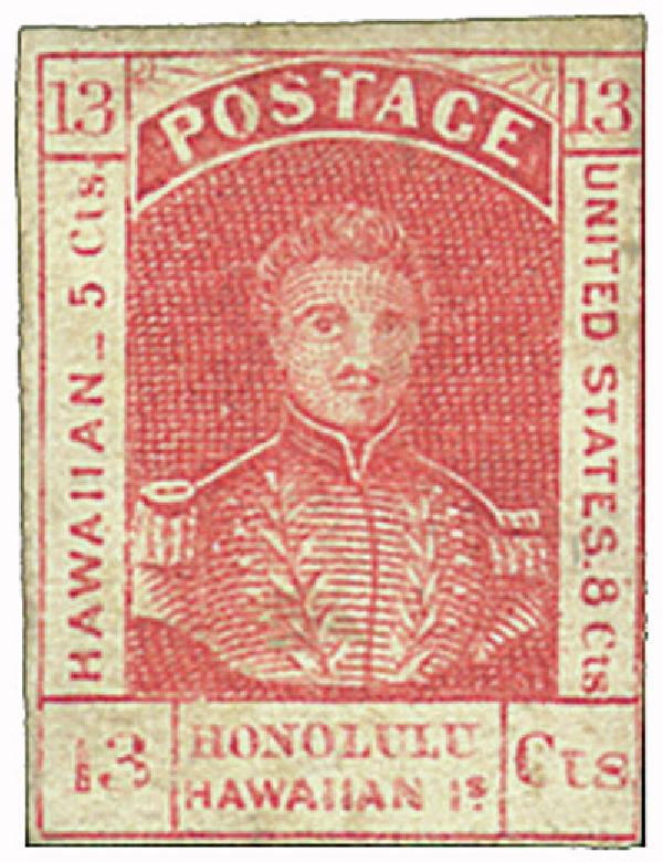 1853 13c Hawaii, dark red, thick wht wove paper