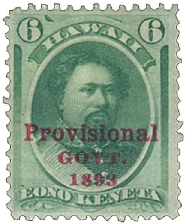1893 6c Eono Keneta Provisional Government stamp, green, red overprinted