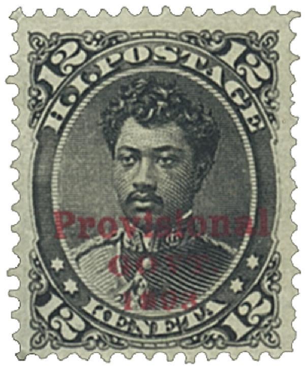 1893 12c Hawaii, black, red overprint