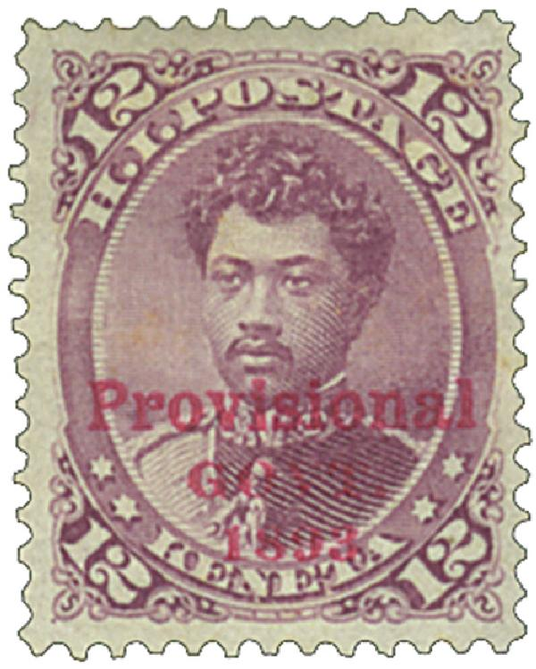 1893 12c Hawaii, red lilac, red overprint