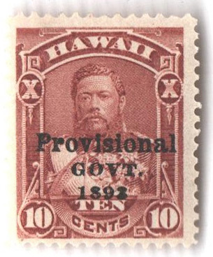 1893 10c Hawaii, red brown, black overprint