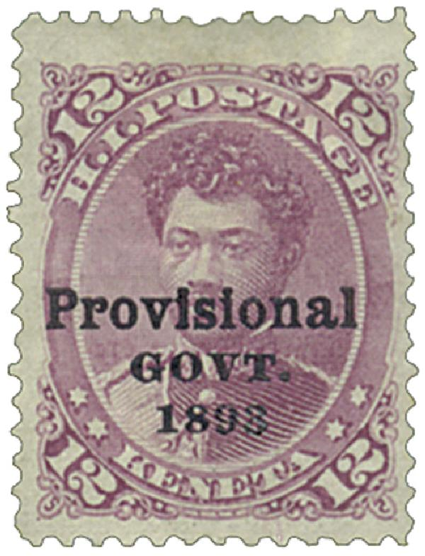 1893 12c Hawaii, red lilac, black overprint