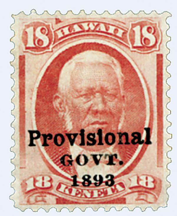 1893 18c Hawaii, dulll rose, black overprint
