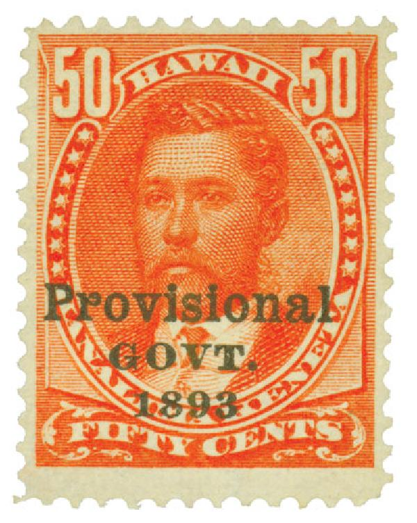 1893 50c Hawaii, red, black overprint