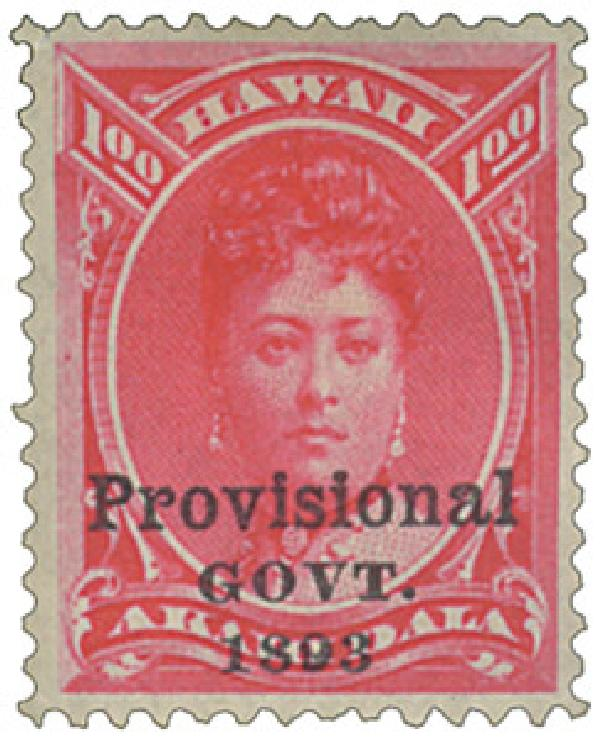 1893 $1 Hawaii, ros red, overprint in black