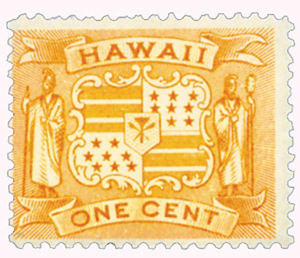 1894 1c Hawaii, yellow, Coat of Arms