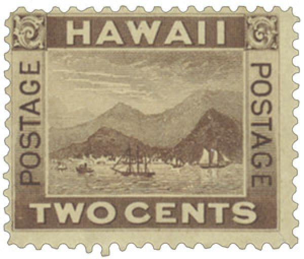 1894 2c Hawaii, brown, View of Honolulu