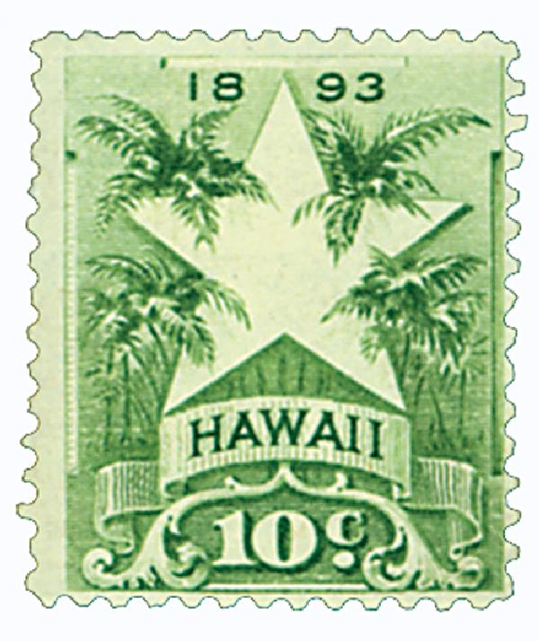 1894 10c Hawaii, yellow green, Stars & Palms