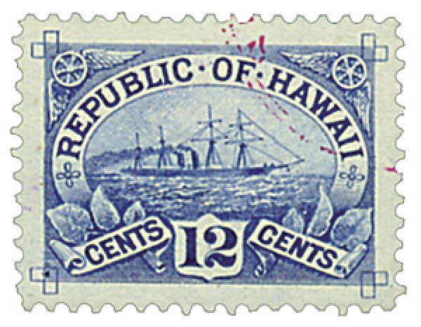 """1894 12c Hawaii, blue,  S.S. """"Arawa"""""""
