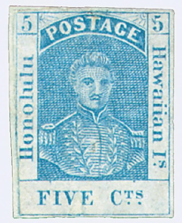 1857 5c Hawaii, blue, thin white wove paper