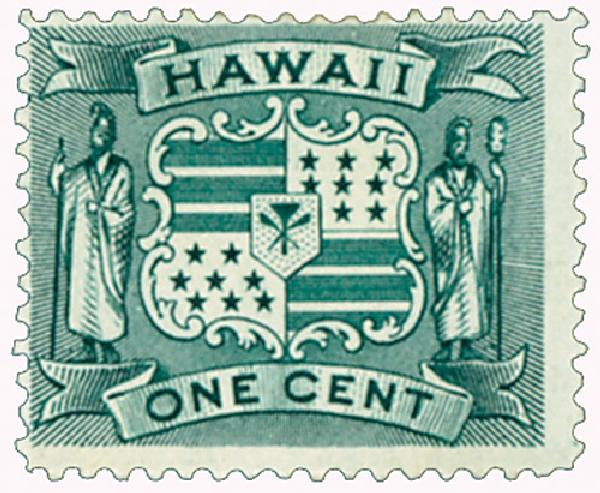 1899 1c Hawaii, dark green, Coat of Arms